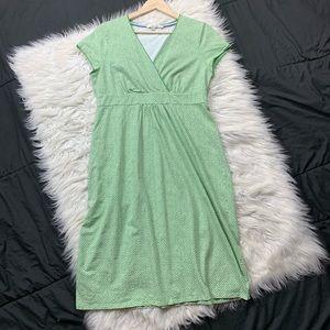 boden | faux wrap polka dot dress